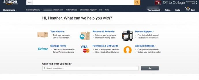 Amazon Help Online Categories