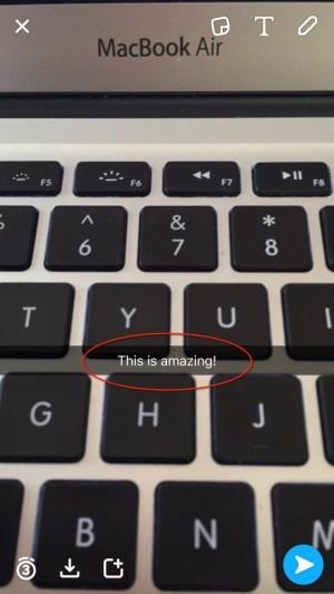 Snapchat small text