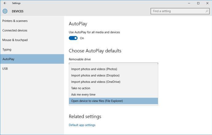 windows 10 autoplay device settings
