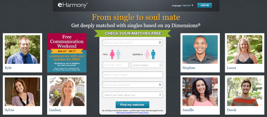 eHarmony dating websites