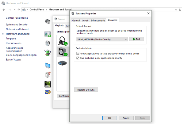 how to fix no sound windows 10
