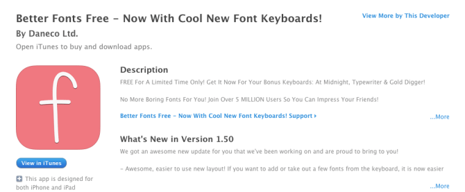 Better Font Keyboard