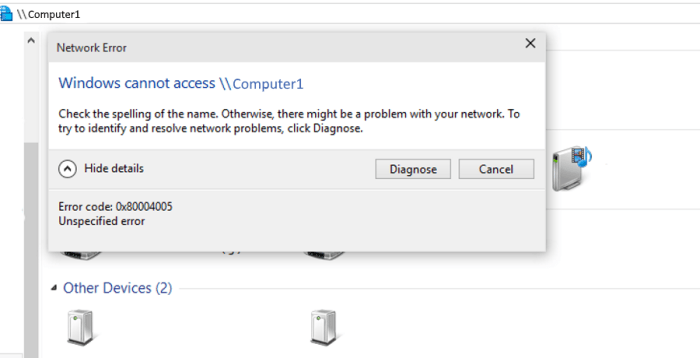How to fix 'Windows cannot access computer' error code