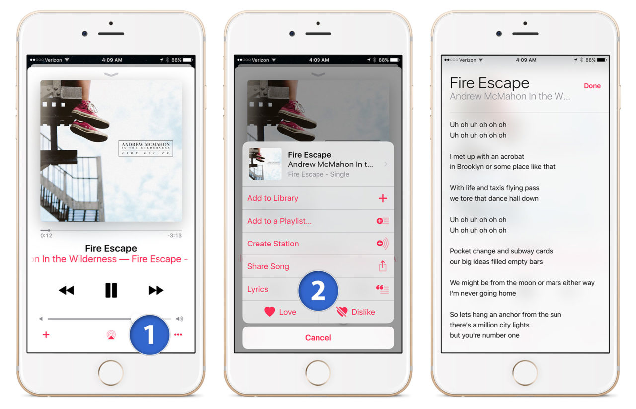 Sing Along with Song Lyrics in the iOS 10 Music App