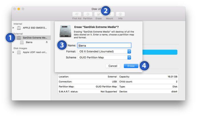 prepare sierra usb installer disk utility