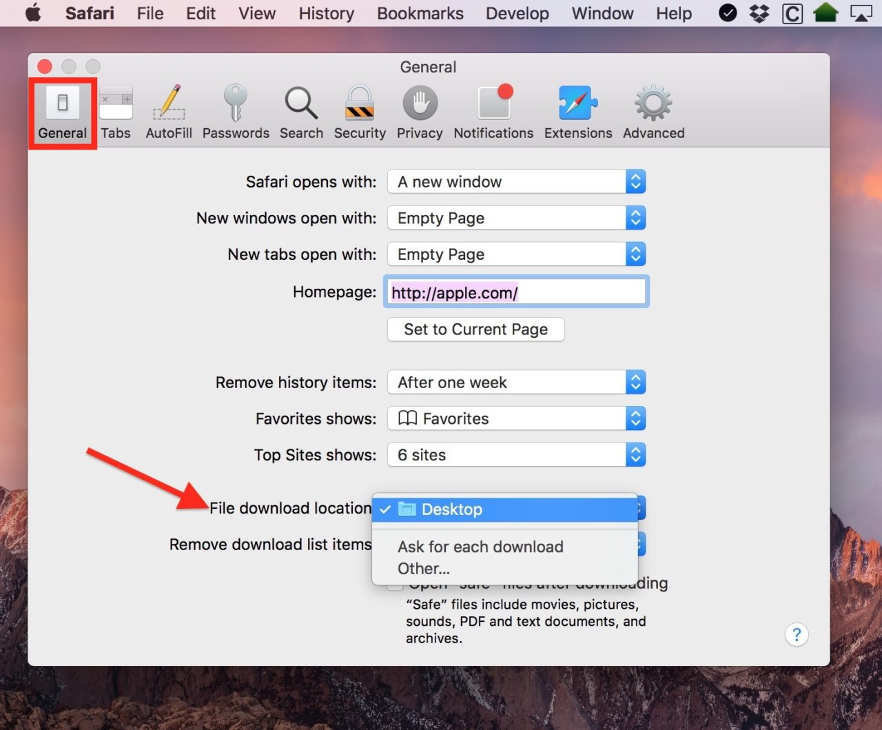 change default download location mac