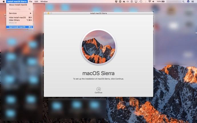 quit Sierra installer