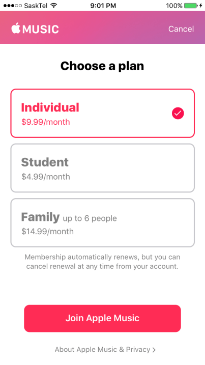 cost for apple music