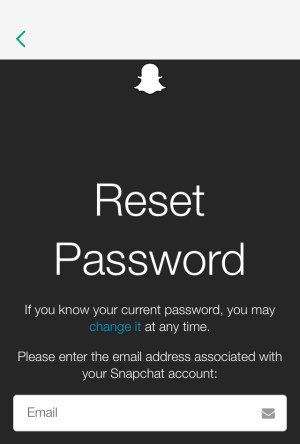 Reset Snap Password email