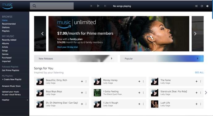 Amazon Music page
