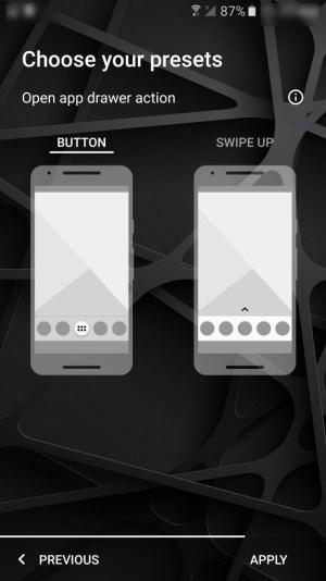 App button or swipe