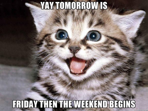 Yay tomorrow is friday then weekend begins