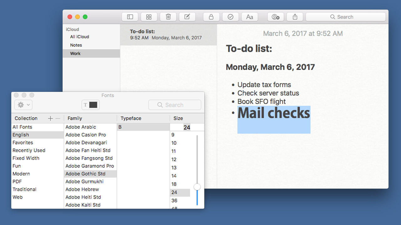 How to Change the Default Font Size and Type in Notes for macOS