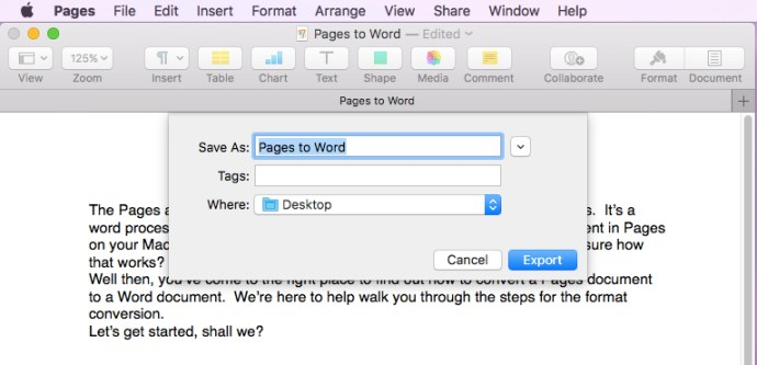 pages to word