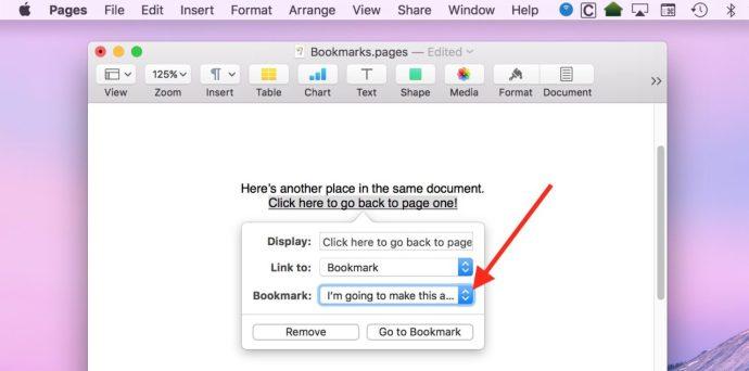 Editing Bookmark