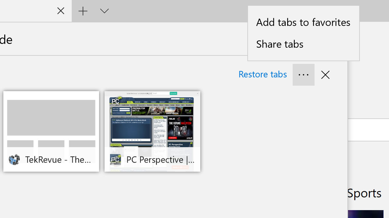 Windows 10 Creators Update: Save and Manage Tabs in Edge