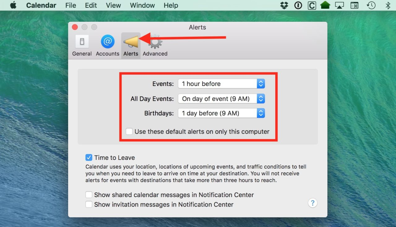 How to Change the Default Calendar Alerts on Your Mac