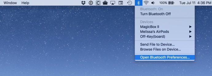 mac bluetooth menu bar