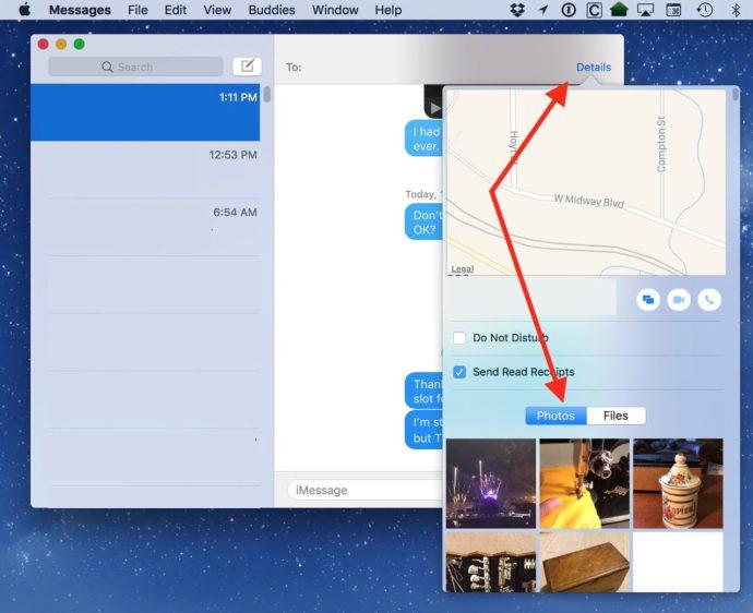 messages mac details