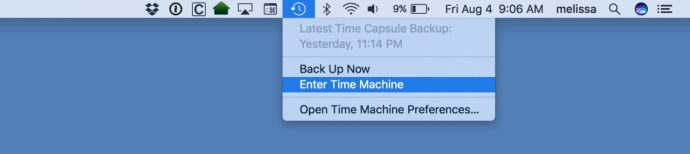 mac enter time machine