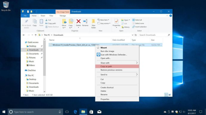 windows 10 copy as path