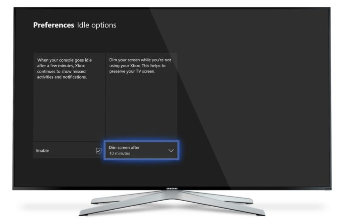 xbox one dim screen idle