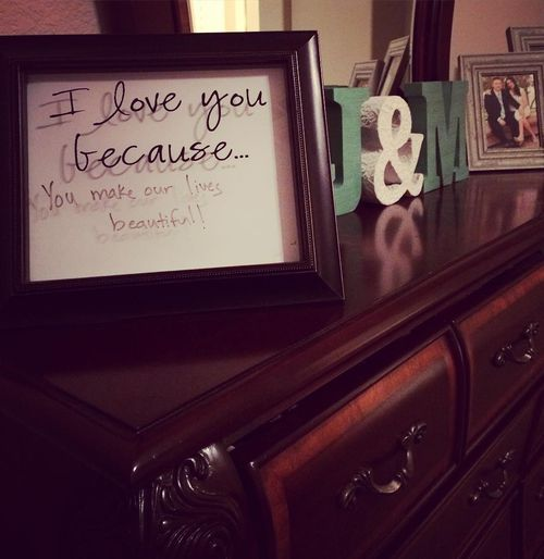 declaration of love in the frame of the photo