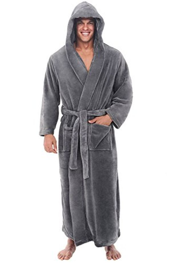 Long Hooded Fleece Bathrobe