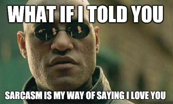 What if I told you that sarcasm is my way of saying I love you