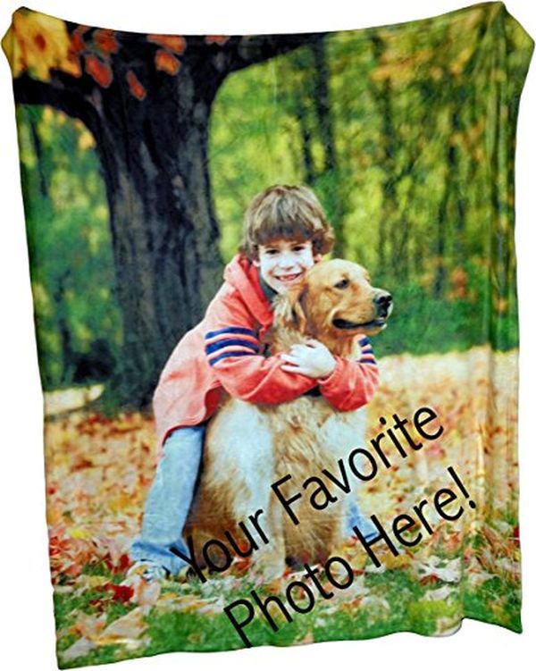Personalized Coral Fleece Throw Photo Blanket