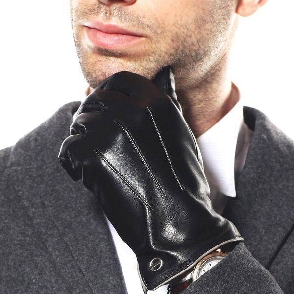 Luxury Men's Touchscreen Leather Gloves