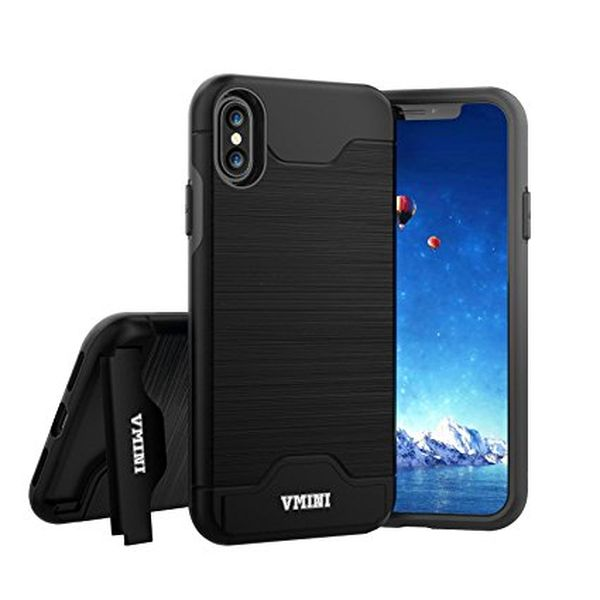 Slim Hard Shockproof Case with Card Slot Holder and Built-In Kickstand