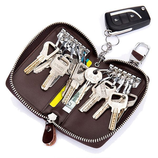 Leather Key Case Wallet with Hooks & Keychain