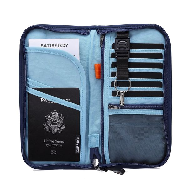 Travel Wallet & Documents Organizer with Removable Wristlet Strap