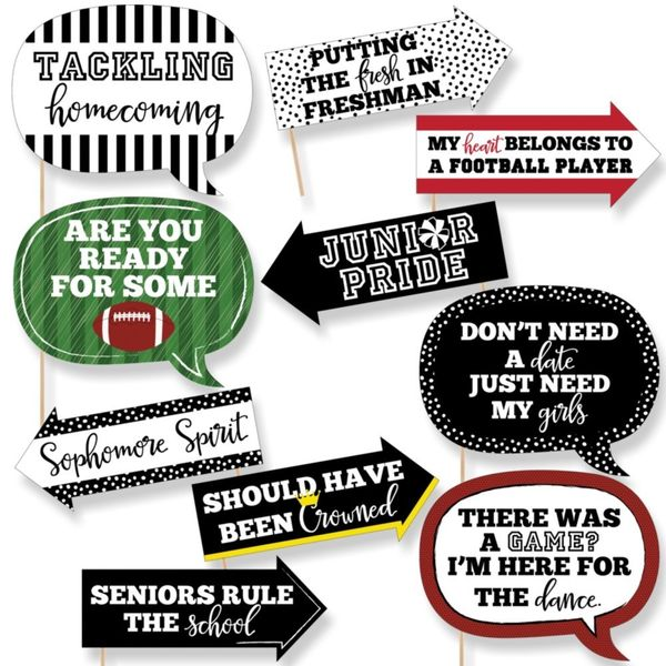 Funny Homecoming - Football Themed School Dance Photo Booth Props Kit