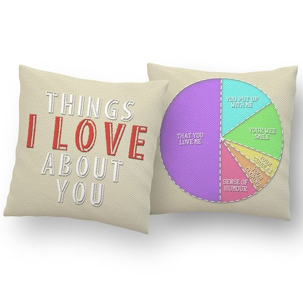 """Things I Love About You"" Personalized Cushion"