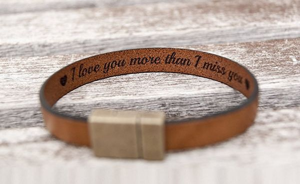 Handmade Personalized Secret Message Leather Bracelet