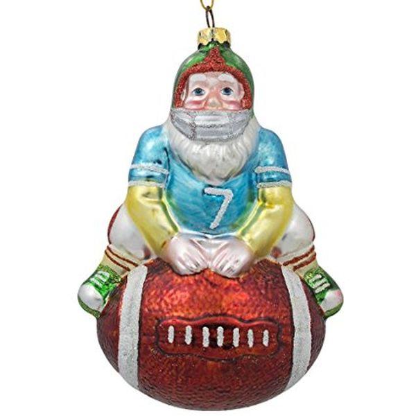 Santa Claus Football Player Sports Ball Glass Christmas Ornament