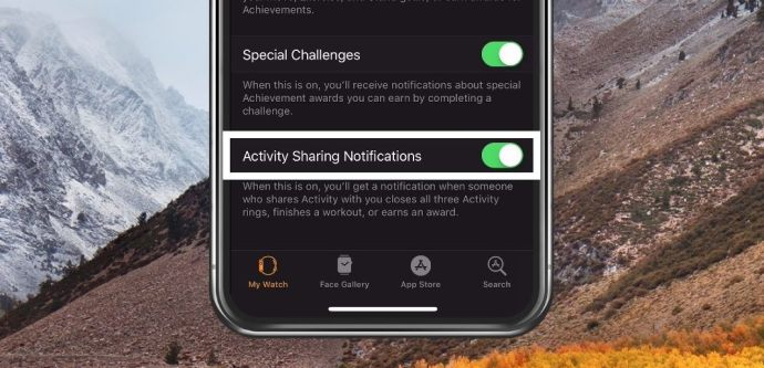 Activity Sharing Notifications