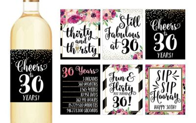 Hadley Designs 30th Birthday Wine Bottle Labels