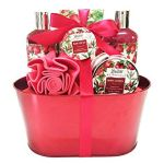 Spa Gift Basket and Bath Set with Relaxing Pomegranate Fragrance