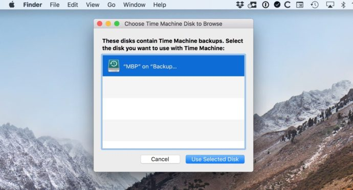 Browse Other Backup Disks Window