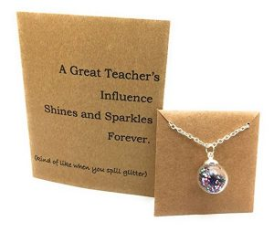 Teacher Necklace and Thank You Card