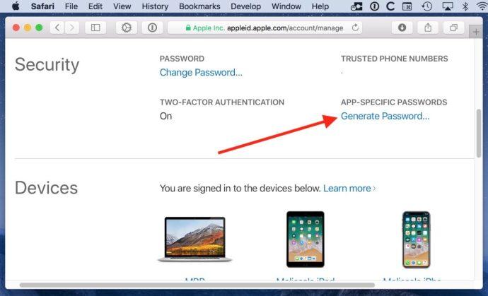 Generate App-Specific Passwords Link