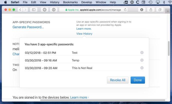 List of App-Specific Passwords