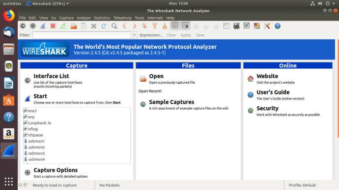 Wireshark Start Screen
