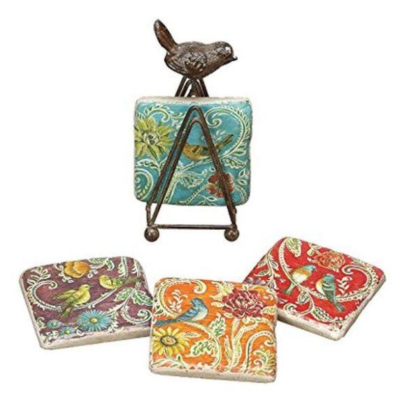 Coaster Set with Tin Bird Stand