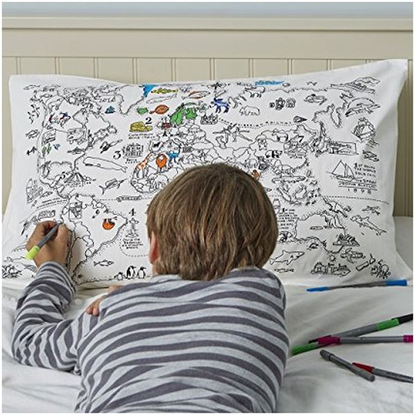 Coloring Pillowcase with 10 Washable Fabric Markers