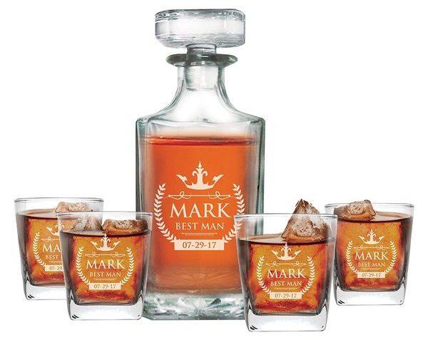 Custom Engraved Whiskey Decanter Set