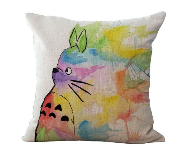 HomeTaste Cute Totoro Decorative Linen Throw Pillow Cover